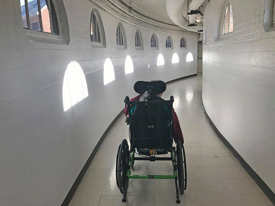 wheel chair in tunnel